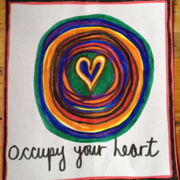 Image of an Occupy Your Heart sticker made by Laura Evonne