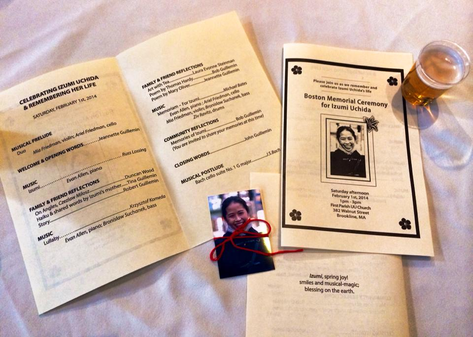 Memorial Service Program with photo/red ribbons