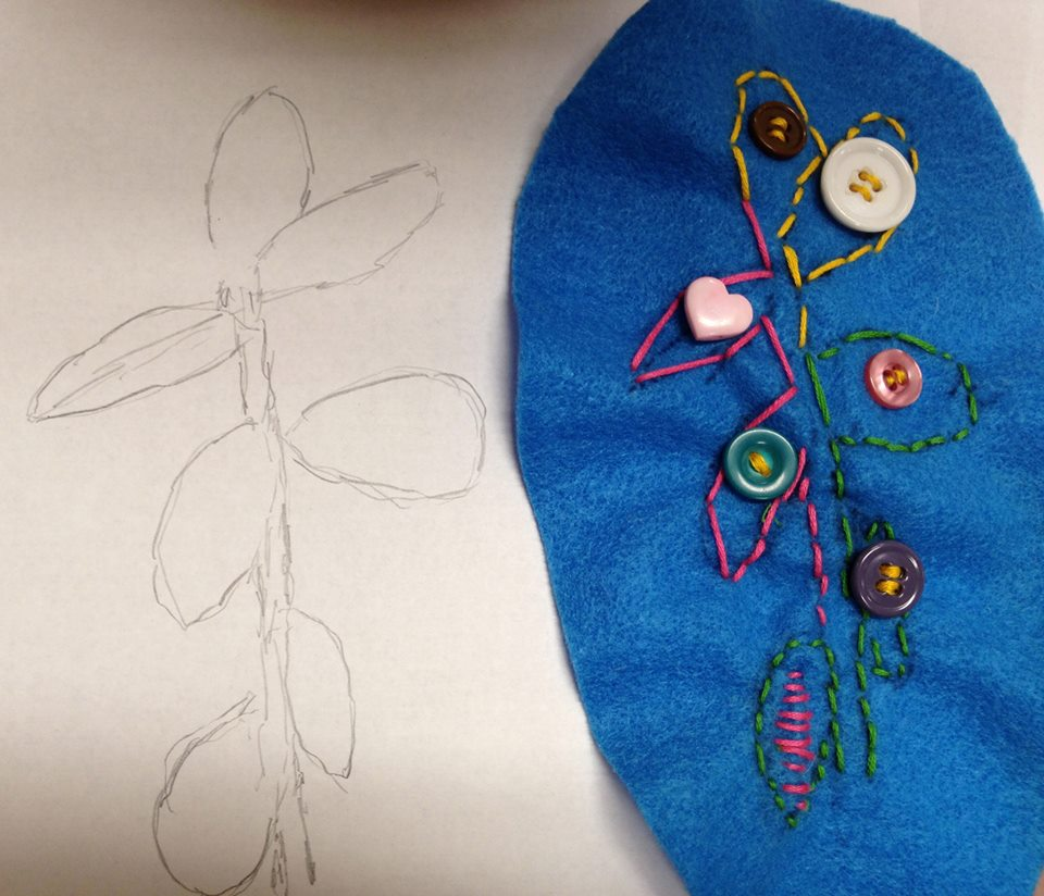 Drawing a Jade plant from observation and then stitching, Berkshires, MA
